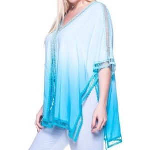 Other - Plus Size CoverUp Tunic Top Ombre DipDye Turquoise